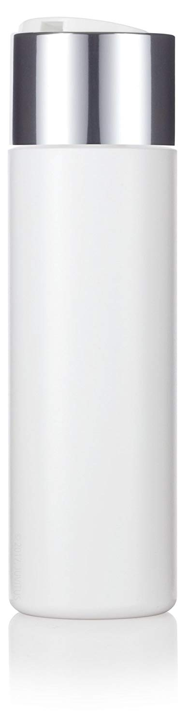White Plastic Professional Squeeze Bottle with Wide Silver Disc Cap - 8 oz / 250 ml