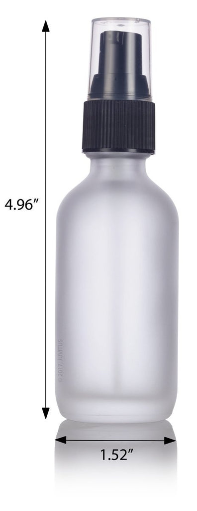 2 oz Frosted Clear Glass Boston Round Treatment Pump Bottle + Funnel and Labels for cosmetics, serums, essential oils, aromatherapy, food grade, bpa free