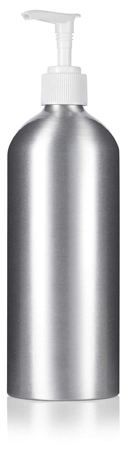 Metal Aluminum Bottle in Silver with White Lotion Pump - 16 oz / 500 ml