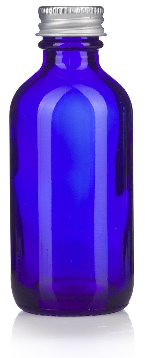 2 oz Cobalt Blue Glass Boston Round Bottles with Silver Metal Screw On Caps + Funnel and Labels