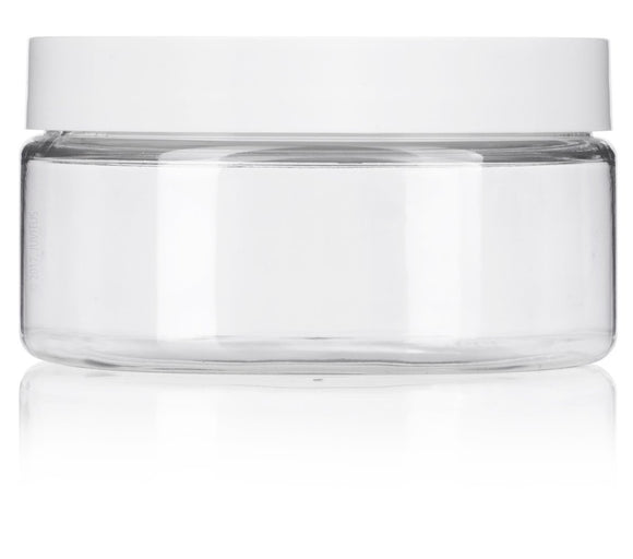 Clear PET Plastic (BPA Free) Refillable Low Profile Jar with White Lids- 8 oz + Spatulas and Labels