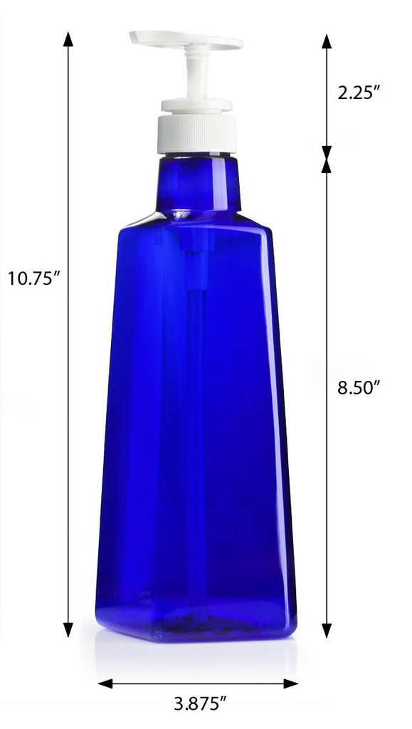 Cobalt Blue 27 oz Extra Large PET Plastic (BPA Free) Triangle Bottles with White Lotion Pump Dispensers for Shampoo, Conditioners, Lotions, Creams, and Oils