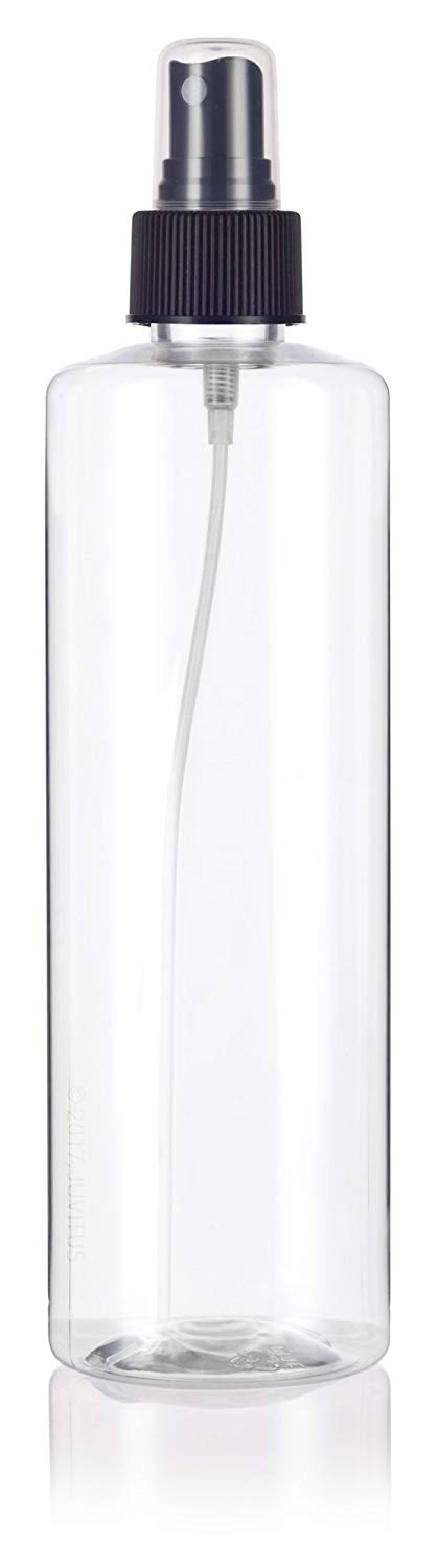 Clear Plastic Professional Cylinder Bottle with Black Fine Mist Spray - 16 oz / 500 ml
