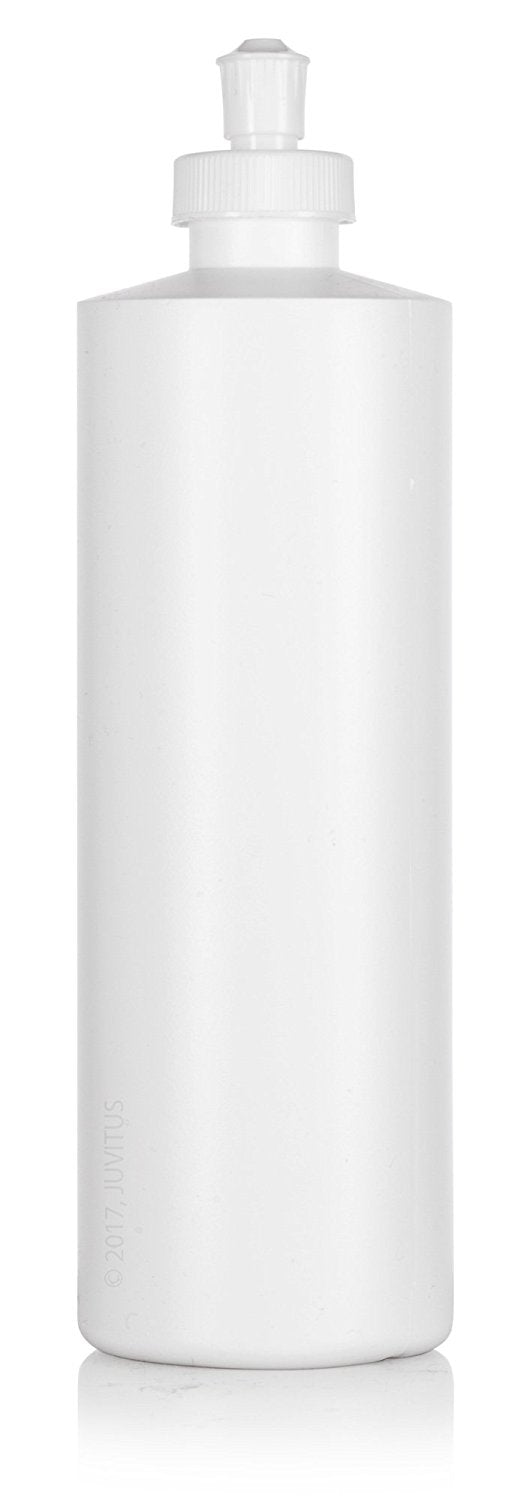 White Plastic Squeeze Bottle with Push Pull Cap Dispenser - 16 oz / 500 ml