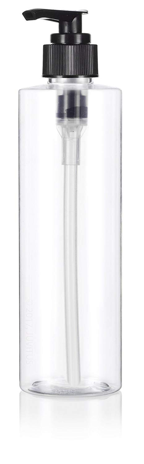 Clear Plastic Professional Cylinder Bottle with Black Lotion Pump - 8 oz / 250 ml
