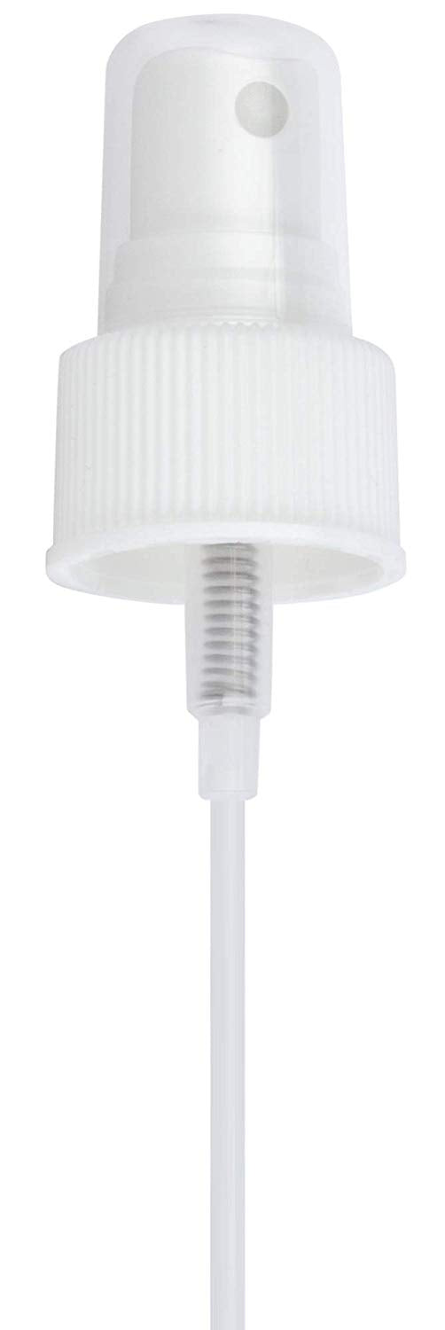 24-410 White Ribbed Fine Mist Spray Top Closure, 6.75 inch dip tube length (12 PACK)