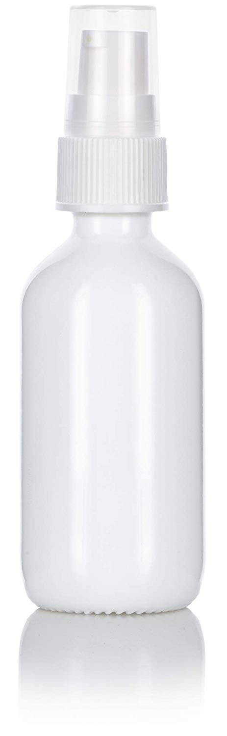 Opal White Glass Boston Round Treatment Pump Bottle with White Top - 2 oz / 60 ml