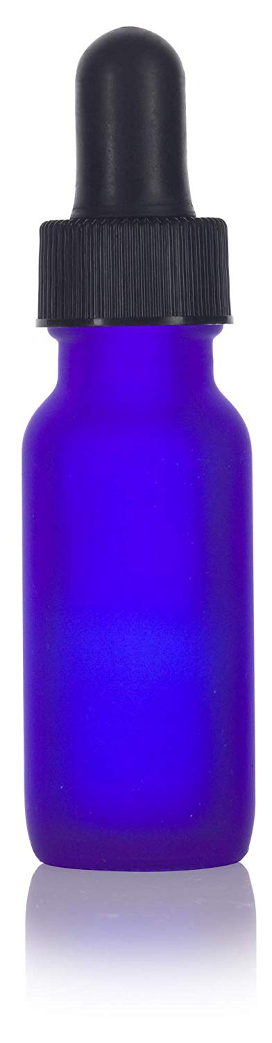 Glass Boston Round Bottle in Frosted Cobalt Blue with Black Dropper - .5 oz / 15 ml