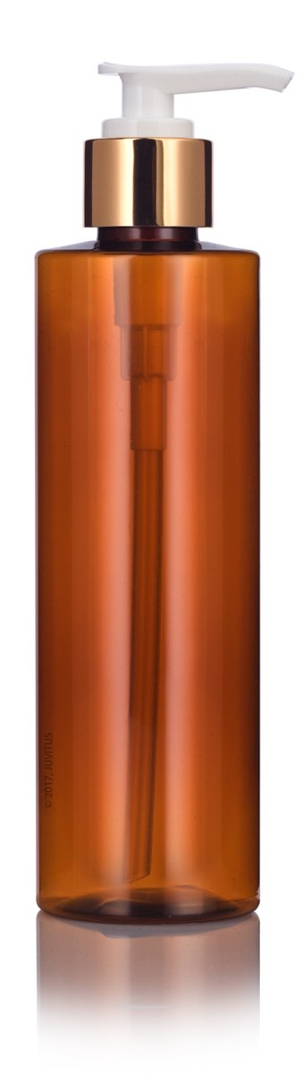 Plastic Cylinder Bottle in Amber with Gold Lotion Pump - 8 oz / 250 ml