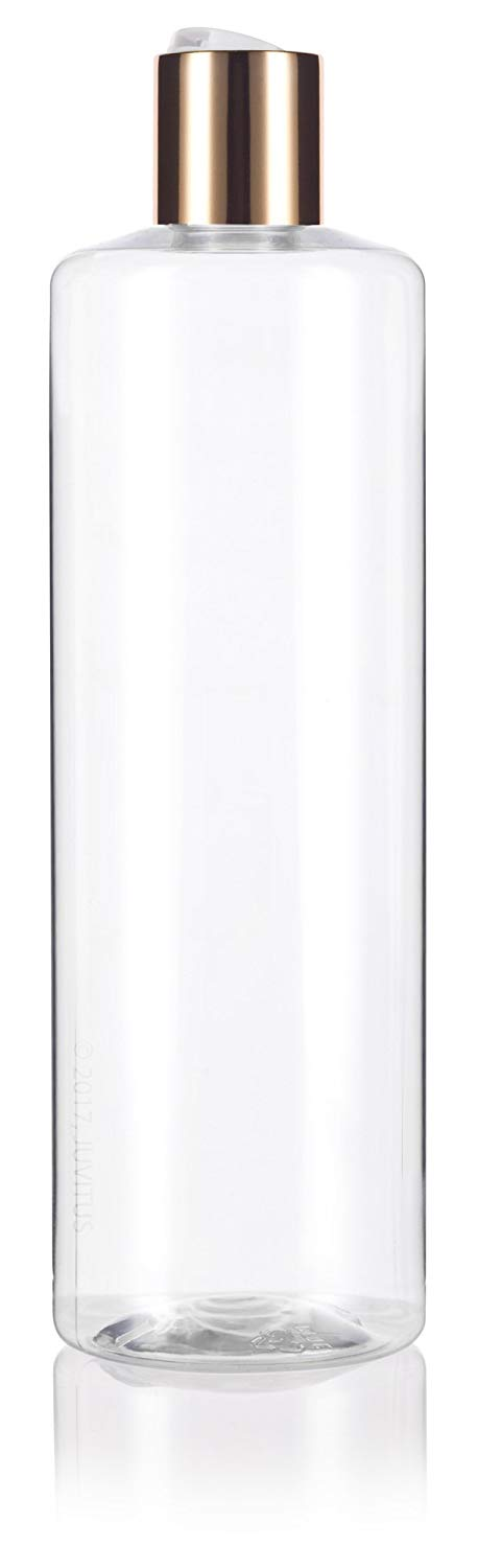 Plastic Professional Cylinder Bottle in Clear with Gold Disc Cap - 16 oz / 500 ml