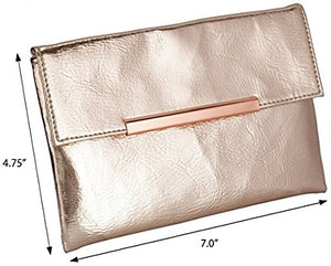 Small Rose Gold Metallic Clutch Bag For Cosmetics, Makeup, Cellphone, Wallet, and Organization - Made of Premium Vegan Leather
