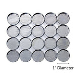 "Round Empty Metal Pans for Makeup - 1"" inch Diameter (20 pack) For Magnetic Palettes"