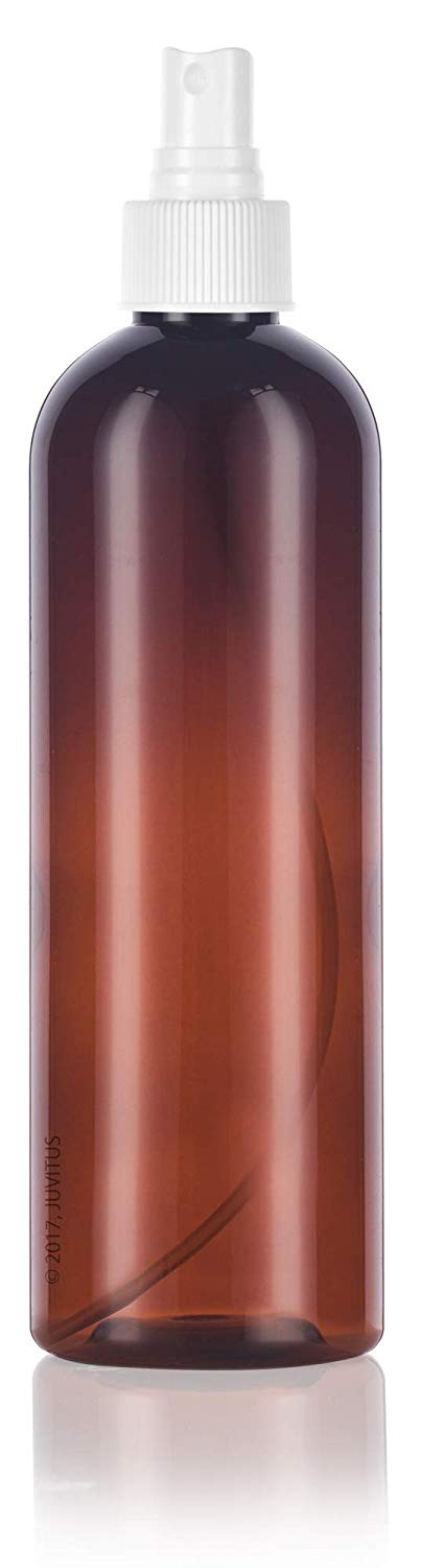 Amber Plastic Slim Cosmo Bottle with White Fine Mist Spray - 12 oz / 360 ml