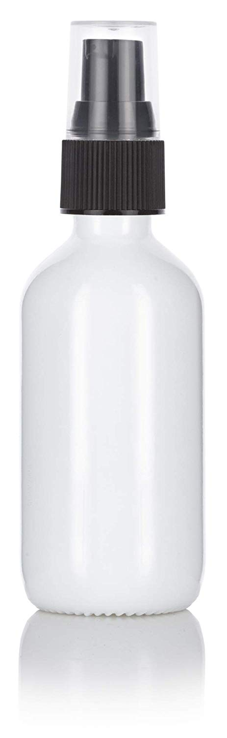 Glass Boston Round Bottle in Opal White with Black Treatment Pump - 2 oz / 60 ml
