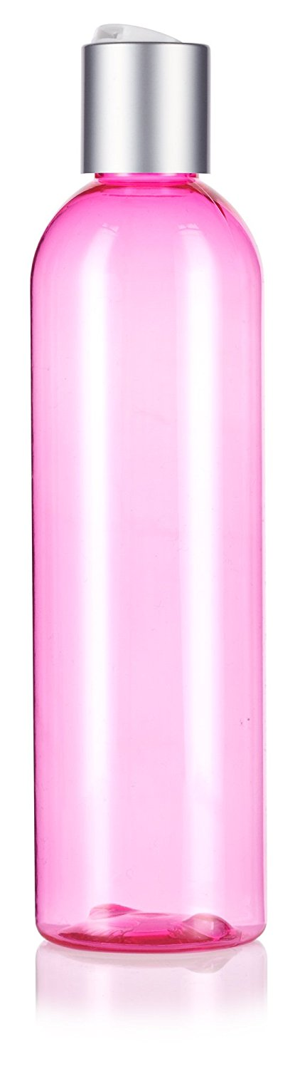 Plastic Slim Cosmo Bottle in Pink with Silver Disc Cap - 8 oz / 250 ml
