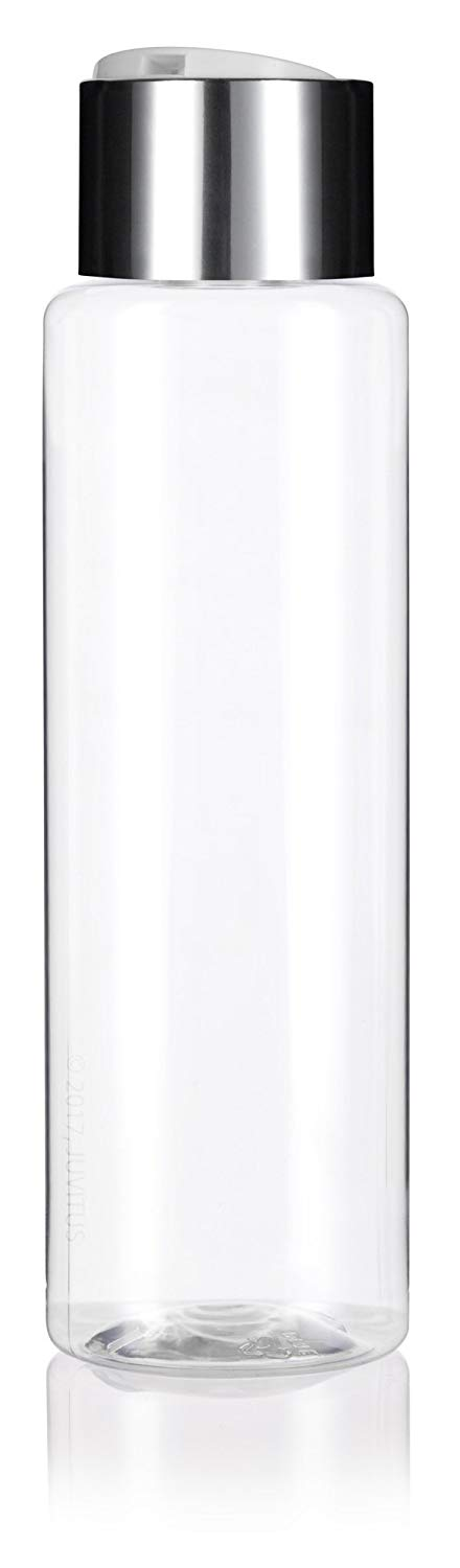 Clear Plastic Professional Cylinder Bottle with Wide Silver Disc Cap - 16 oz / 500 ml - JUVITUS
