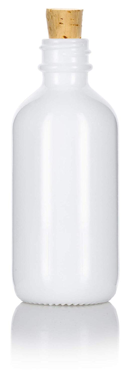 Opal White Glass Boston Round Cork Bottle with Natural Stopper - 2 oz / 60 ml