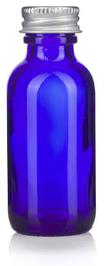 Cobalt Blue Glass Boston Round Screw Bottle with Silver Metal Cap - 1 oz / 30 ml