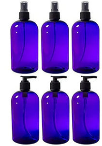 Purple PET (BPA Free) Refillable Plastic Bottles with Black Sprayers and Lotion Pumps - 16 oz (6 Pack)