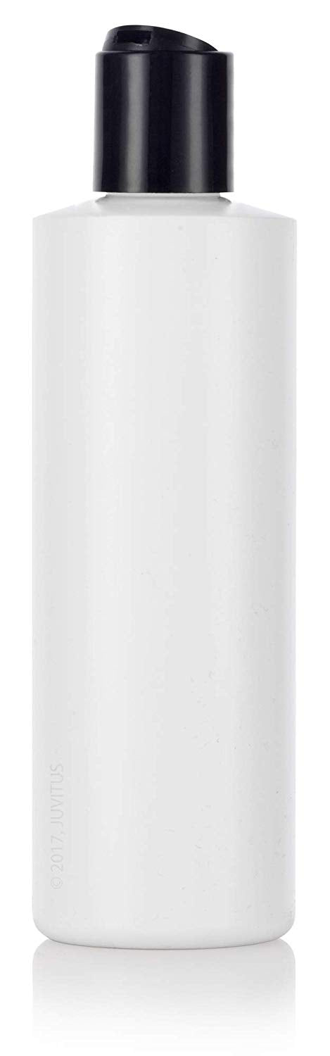 White Plastic Squeeze Cylinder Bottle with Black Disc Cap - 8 oz / 250 ml