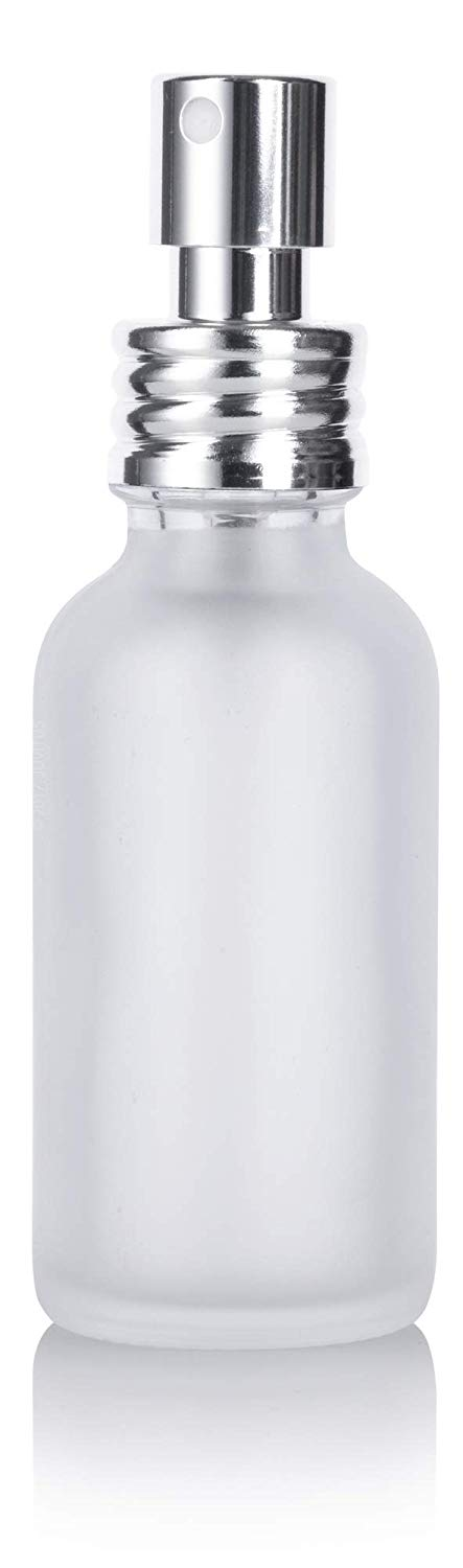 Frosted Clear Glass Boston Round Fine Mist Spray Bottle with Silver Chrome Metal Aluminum Sprayer - 1 oz / 30 ml