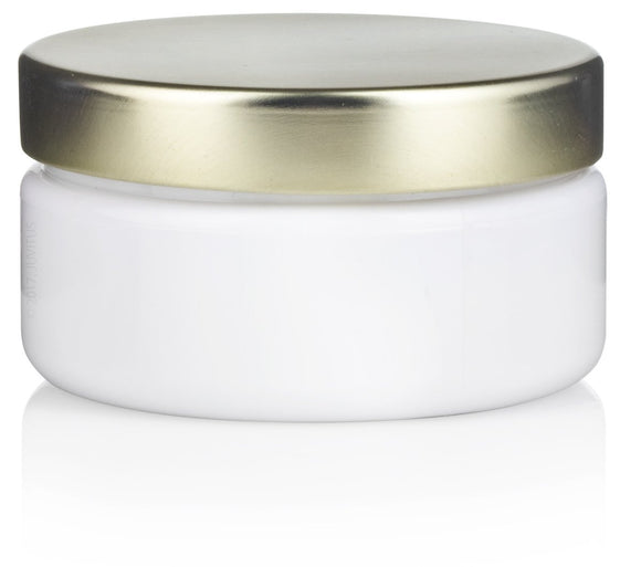 Plastic Low Profile Jar in White with Gold Metal Foam Lined Lid - 2 oz / 60 ml