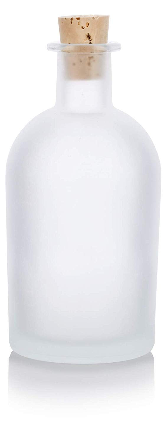 Frosted Clear Glass Decorative Bottle with Natural Cork Top - 8 oz / 250 ml