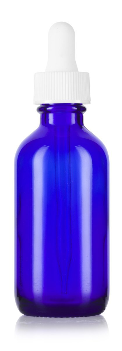2 oz Cobalt Blue Glass Boston Round White Dropper Bottle + Funnel and Labels