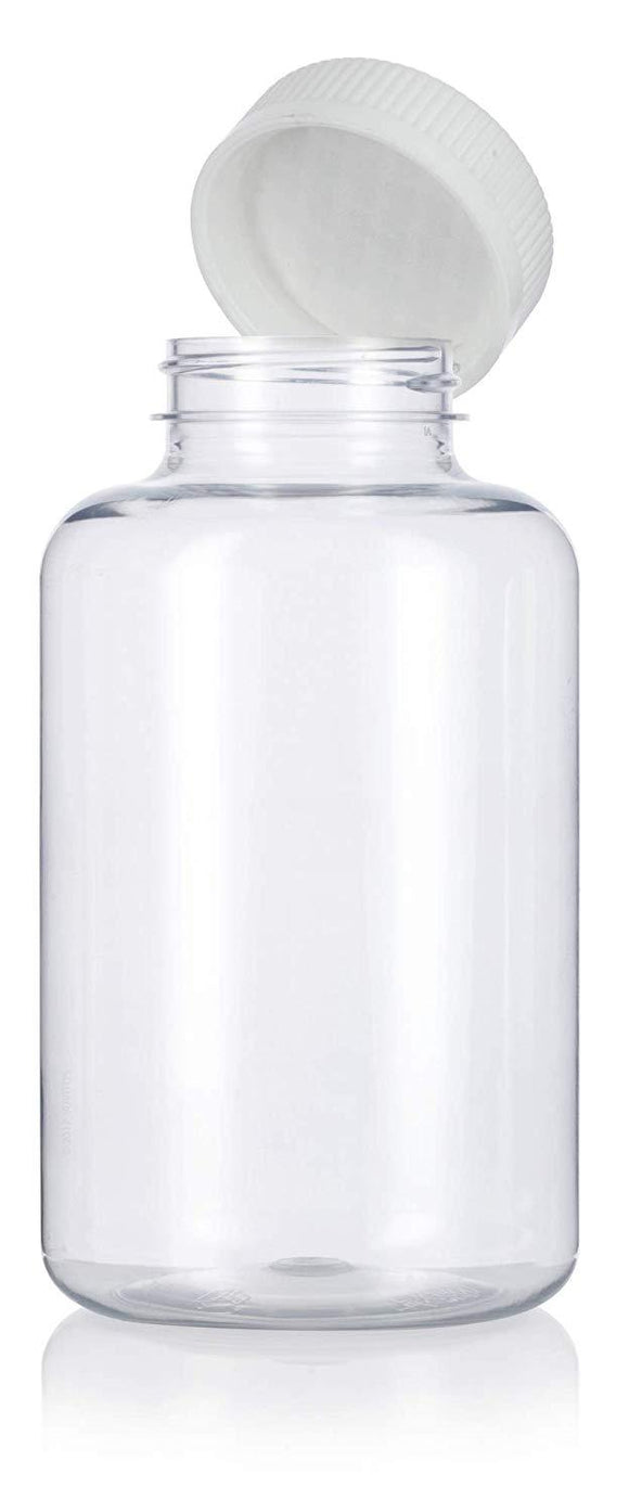Plastic Wide Mouth Packer Bottle in Clear with Child Resistant White Push and Turn Lid - 17 oz / 500 ml