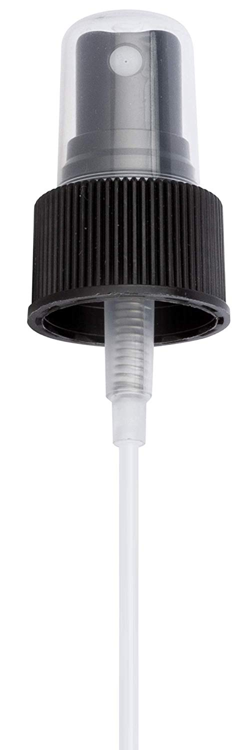24-410 Black Ribbed Fine Mist Spray Top Closure, 6.875 inch dip tube length (12 PACK)