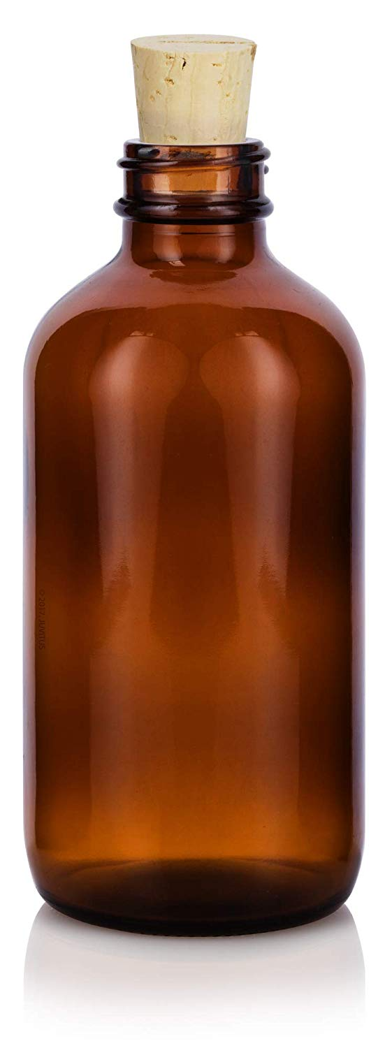 Amber Glass Boston Round Cork Bottle with Natural Stopper - 8 oz / 250 ml