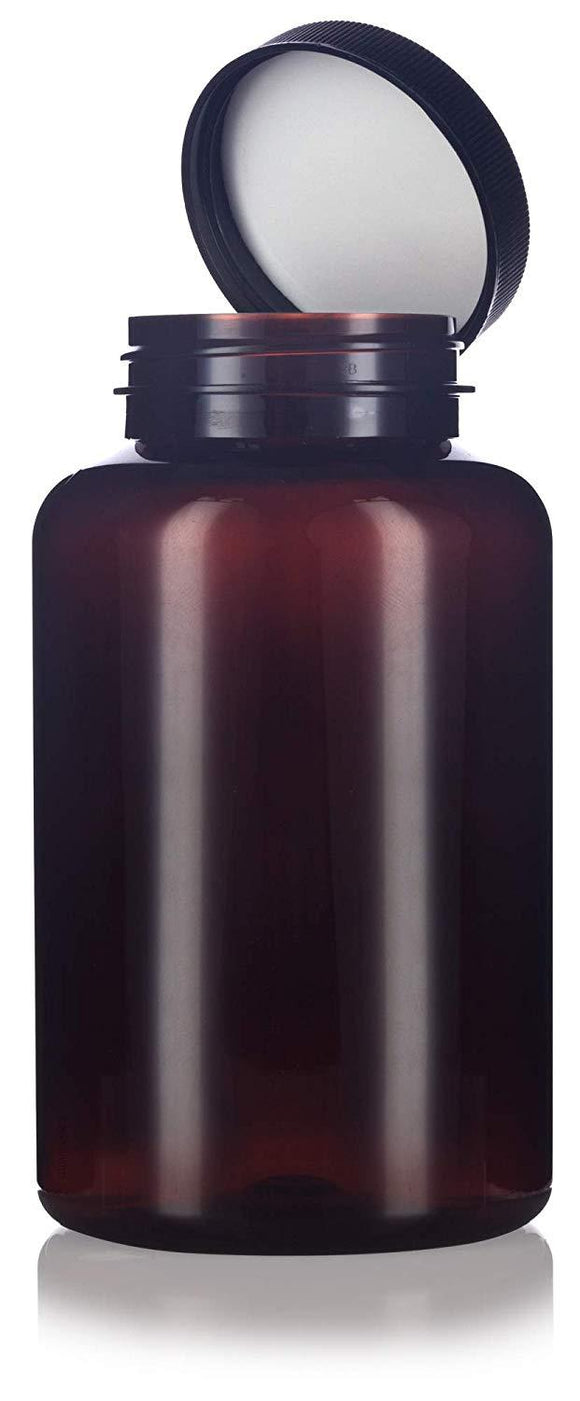 Amber Plastic Wide Mouth Packer Bottle with Black Ribbed Lid - 17 oz / 500 ml