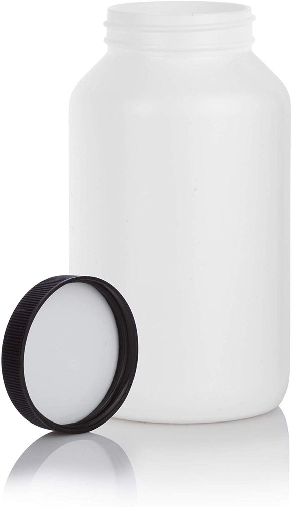 White HDPE Plastic Packer Bottle with Black Ribbed Lid - 17 oz / 500 ml