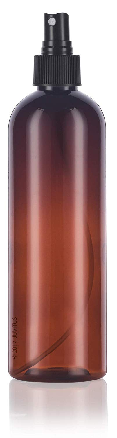 Amber Plastic Slim Cosmo Bottle with Black Fine Mist Spray - 12 oz / 360 ml