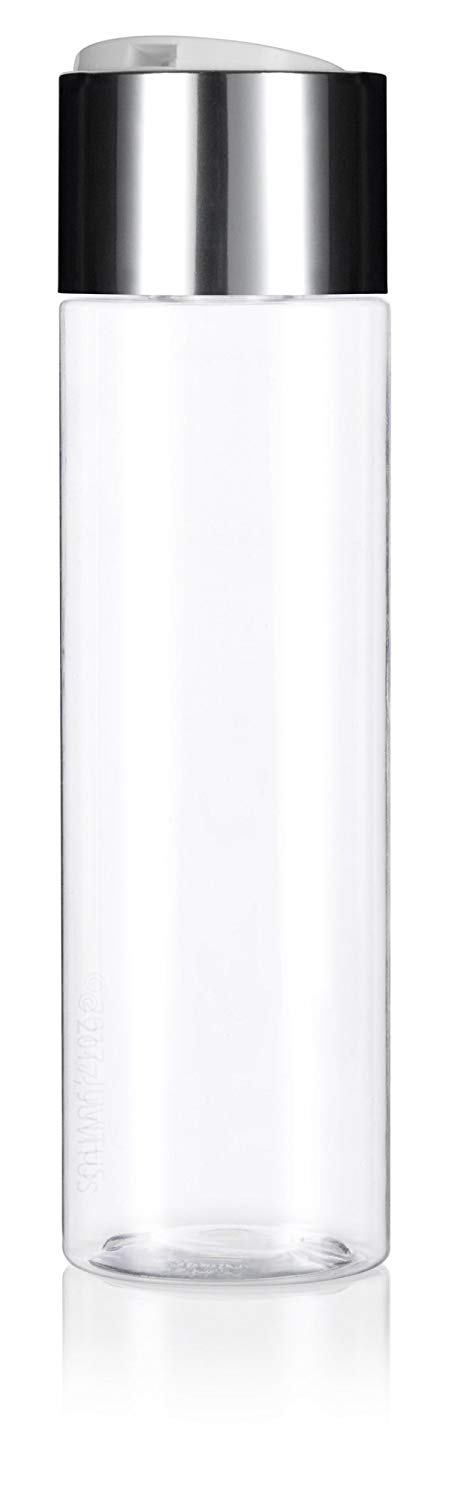 Clear Plastic Professional Cylinder Bottle with Wide Silver Disc Cap - 8 oz / 250 ml