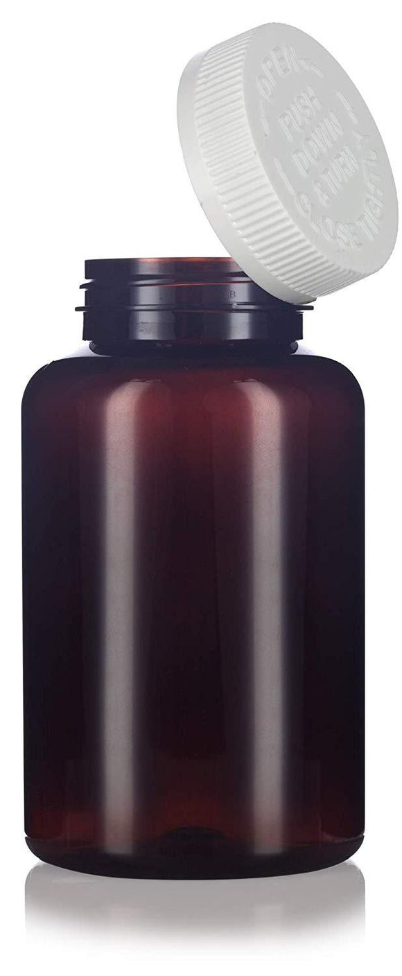 Plastic Wide Mouth Packer Bottle in Amber with Child Resistant White Push and Turn Lid - 17 oz / 500 ml