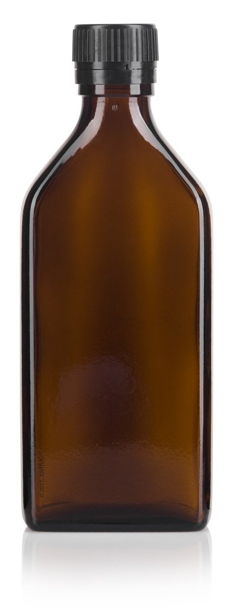Amber Glass Flask Bottle with Tamper Sealed Black Ribbed Lid - 8 oz / 250 ml