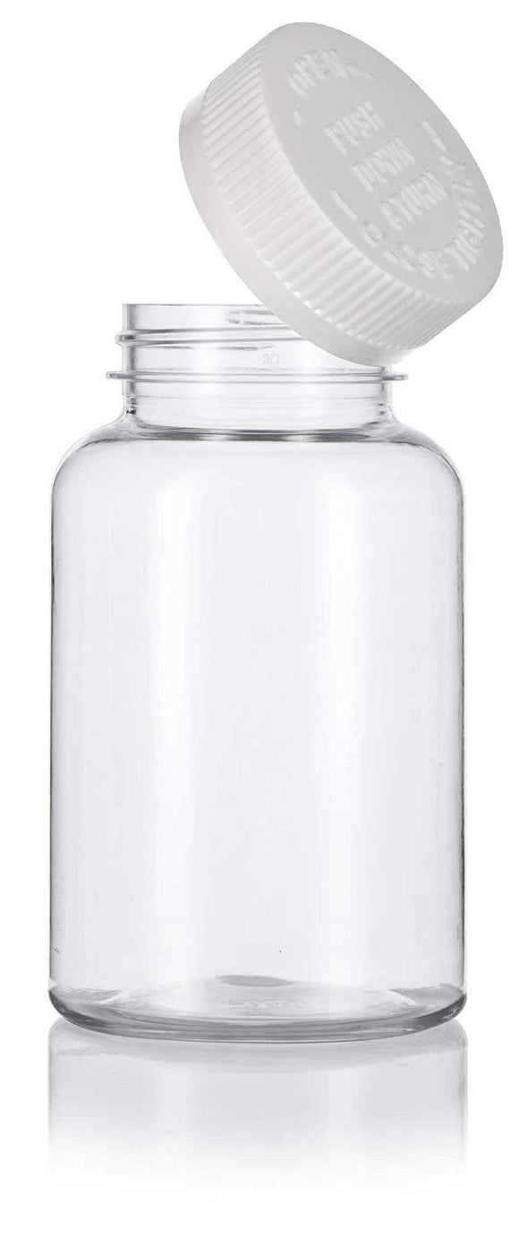 Plastic Wide Mouth Packer Bottle in Clear with Child Resistant White Push and Turn Lid - 8 oz / 250 ml
