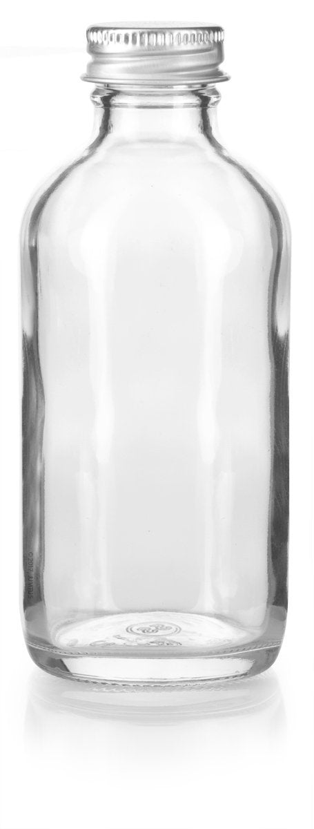 Clear Glass Boston Round Screw Bottle with Silver Metal Cap - 4 oz / 120 ml