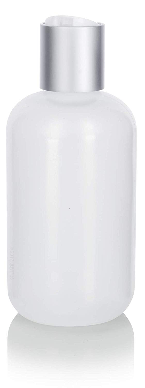 Natural Clear Plastic Squeeze LDPE Bottle with Silver and White Disc Cap - 4 oz / 120 ml