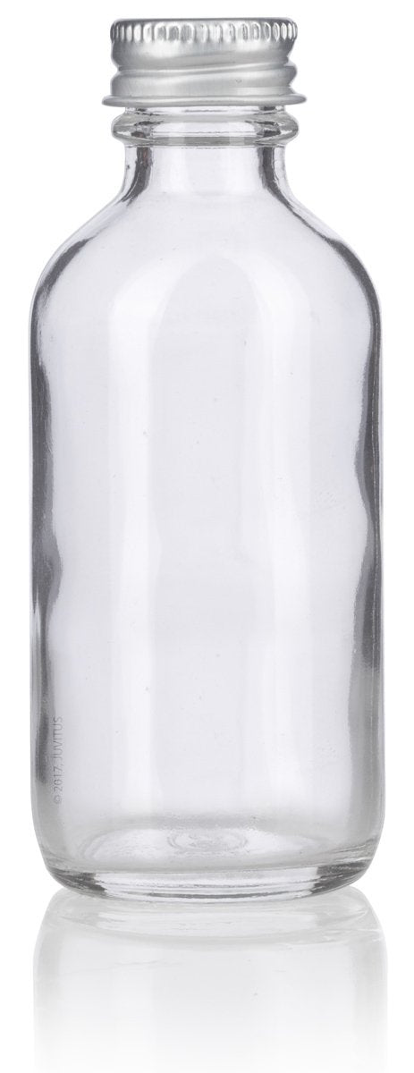 Clear Glass Boston Round Screw Bottle with Silver Metal Cap - 2 oz / 60 ml