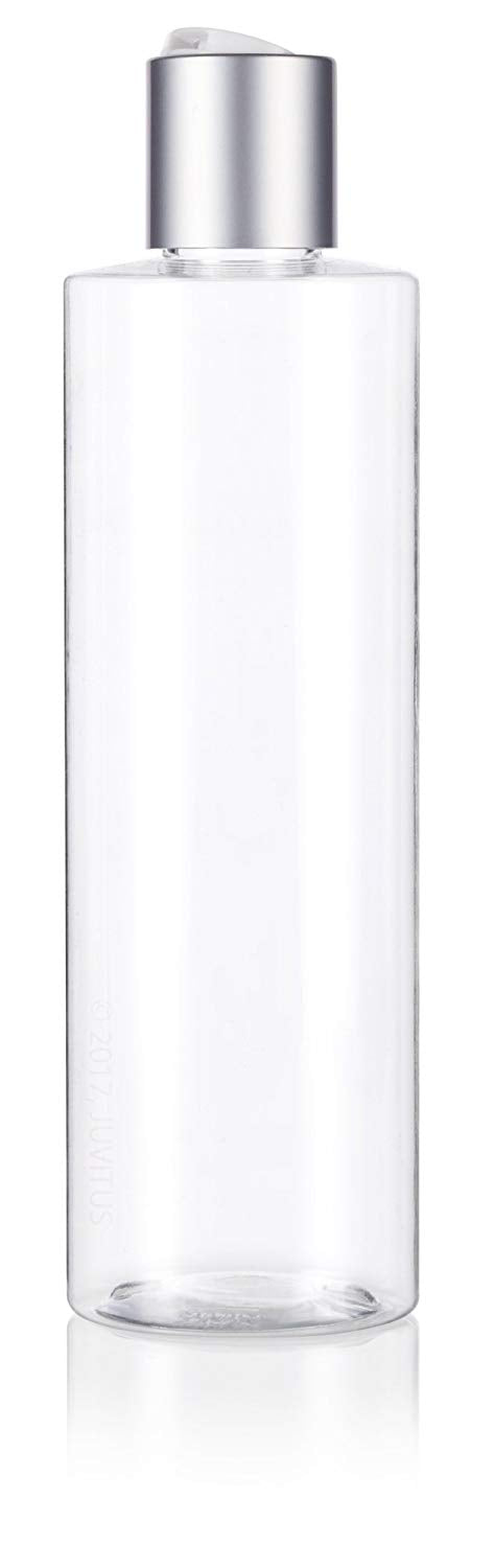 Clear Plastic Professional Cylinder Bottle with Silver Disc Cap - 8 oz / 250 ml