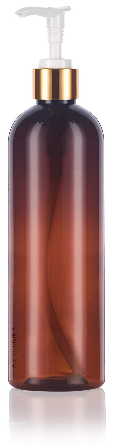 Amber Plastic Slim Cosmo Bottle with Gold and White Metal Shell Lotion Pump - 12 oz / 360 ml - JUVITUS