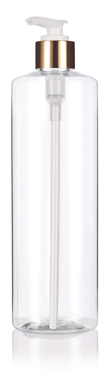 Clear Plastic Professional Cylinder Bottle with Gold Lotion Pump - 16 oz / 500 ml
