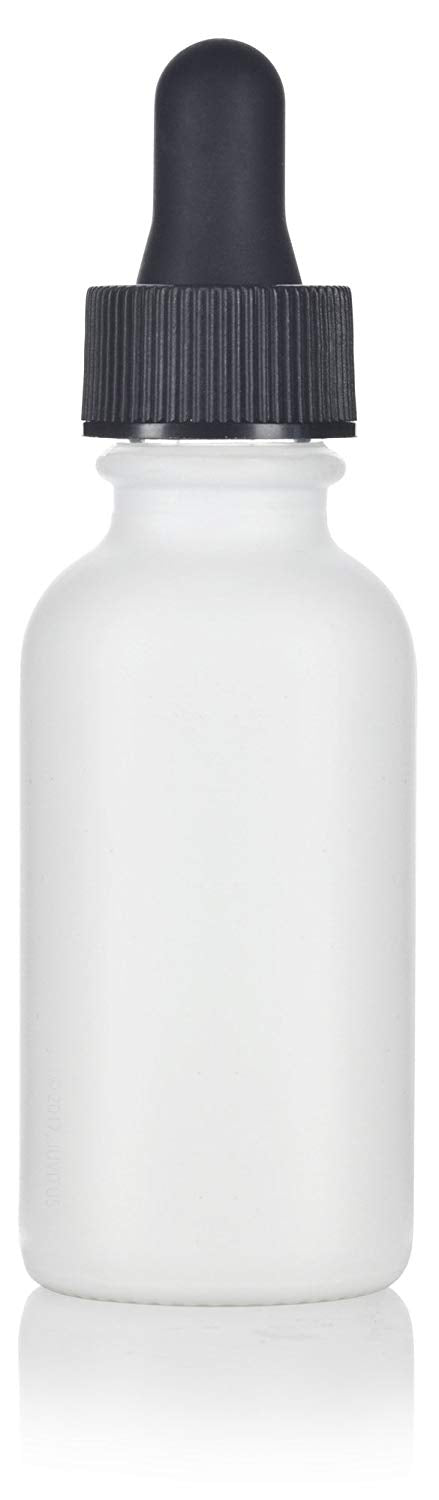 White Glass Boston Round Dropper Bottle with Graduated Measurement Glass Black Top - 1 oz / 30 ml