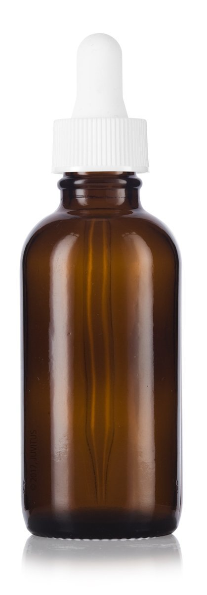 Amber Glass Boston Round Dropper Bottle with White Top - 2 oz / 60 ml
