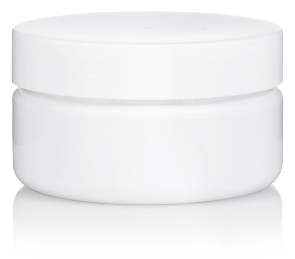 White Refillable Low Profile PET Plastic (BPA Free) Jar with White Lid - 2 oz + Spatulas and Labels