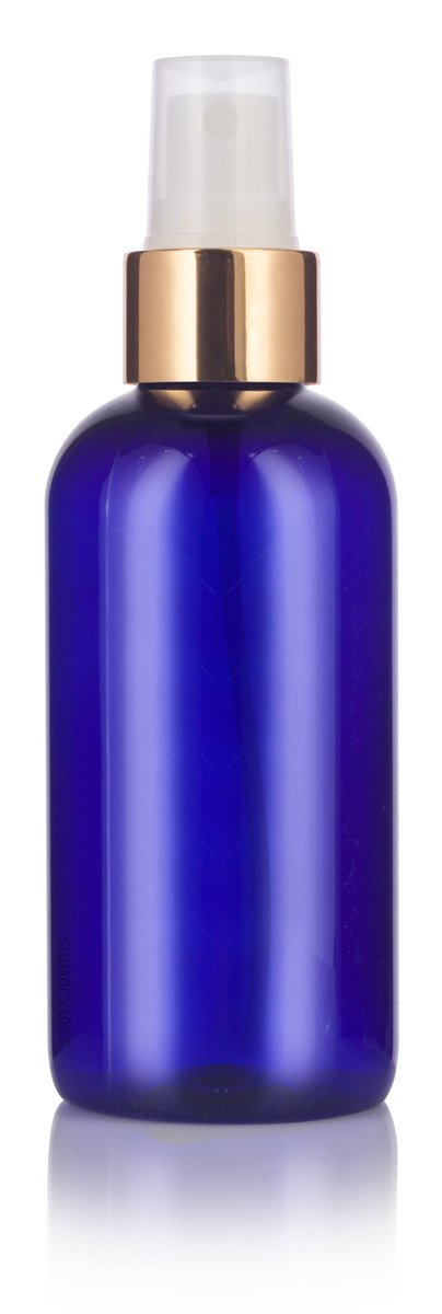 Cobalt Blue Plastic Boston Round Fine Mist Spray Bottle with Gold Sprayer - 4 oz / 120 ml