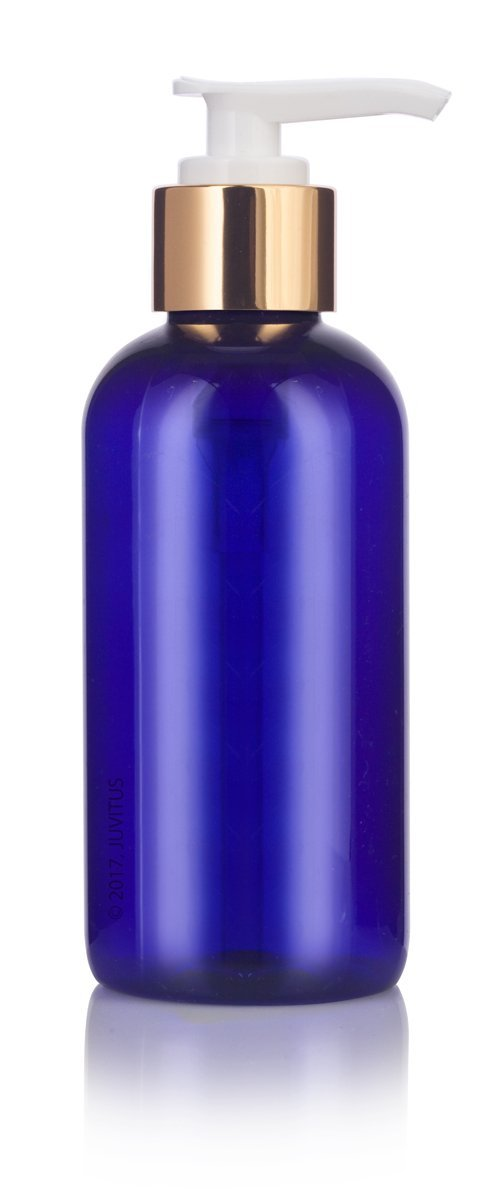 Cobalt Blue 4 oz Boston Round PET Bottles (BPA Free) with Gold Lotion Pump + Labels