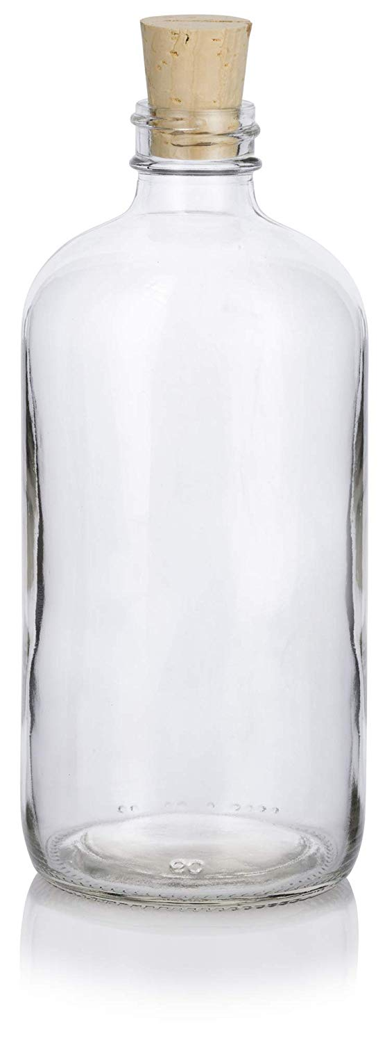 Glass Boston Round Bottle in Clear with Natural Cork Top - 16 oz / 500 ml